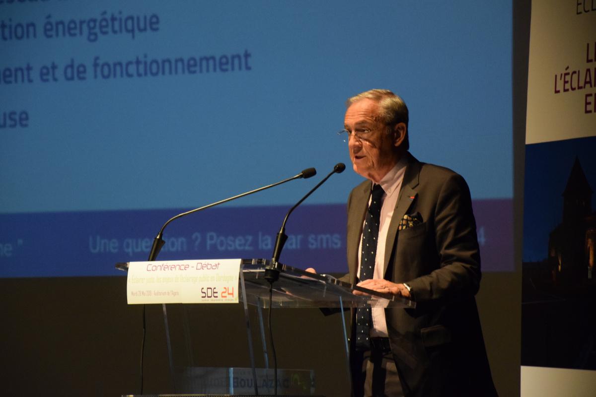 Philippe Ducène, Président du SDE 24 lors de la Conférence - Débat du 28 mai 2019